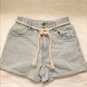 Forever 21 Paperbag High Waisted Denim Shorts